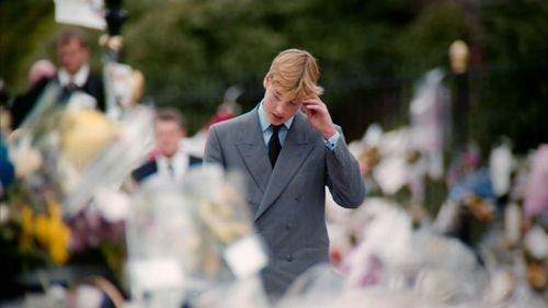 Prince William at his mother's funeral.