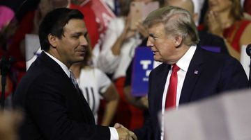 Ron DeSantis at a rally with Donald Trump.