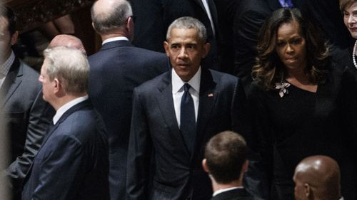 Barack and Michelle Obama also attended, with former President Obama giving a speech at John McCain's request.
