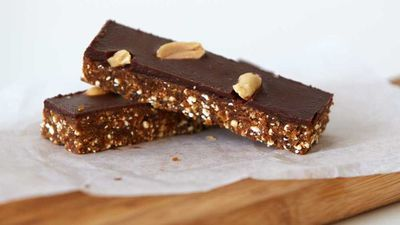 """Recipe:&nbsp;<a href=""""http://kitchen.nine.com.au/2016/10/27/16/18/urban-orchards-raw-snickers-bar"""" target=""""_top"""" draggable=""""false"""">Urban Orchard's raw not-snickers bar</a>"""