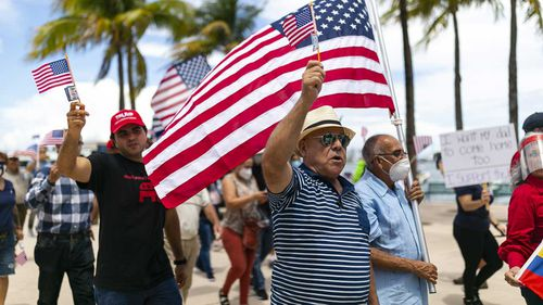 A pro-'law and order' rally held in Miami, Florida, in response to Black Lives Matter protests.