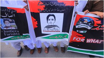 Members of a civil society group, Volunteer Force Pakistan, hold a demonstration to condemn the rape and killing of Farishta Monmand, whose case triggered widespread condemnation and outrage, including on social media.