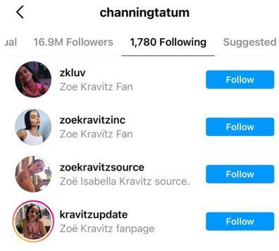 Channing Tatum follows four fan accounts dedicated to rumoured girlfriend Zoë Kravitz.