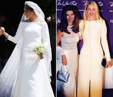 Meghan Markle at the 2018 Royal Wedding; Carolyn at the 1999 Fire and Ice Ball.