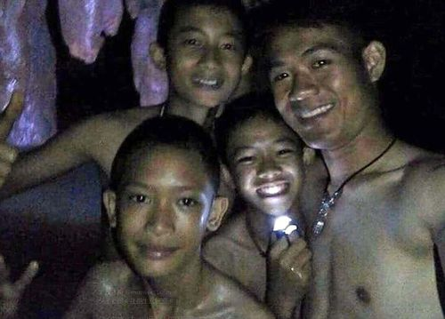 The rescued boys took a selfie after they were finally found by rescuers. Picture: Supplied