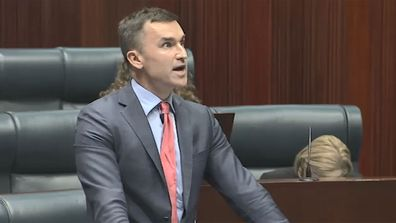 John Carey rocks a mullet in Parliament thanks to Jessica Shaw.