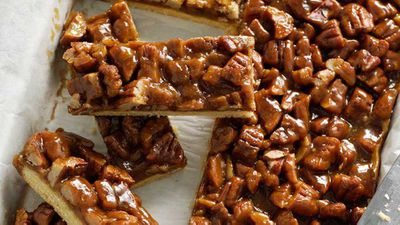 "Click through for our&nbsp;<a href=""http://kitchen.nine.com.au/2016/05/16/13/40/pecan-caramel-slice"" target=""_top"">Pecan caramel slice</a>&nbsp;recipe"