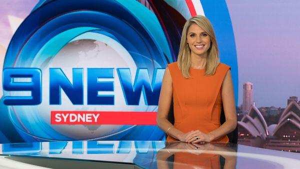 Amelia Adams in the Nine News Sydney studio