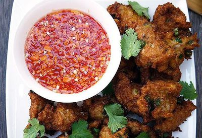"""Recipe: <a href=""""http://kitchen.nine.com.au/2016/05/05/09/53/hawkerstyle-thai-fish-cakes-with-dipping-sauce"""" target=""""_top"""">Hawker-style Thai fish cakes with dipping sauce</a>"""