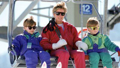Princess Diana takes William and Harry skiing, 1991