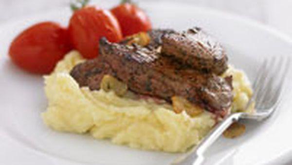 Kangaroo steaks with roasted tomatoes