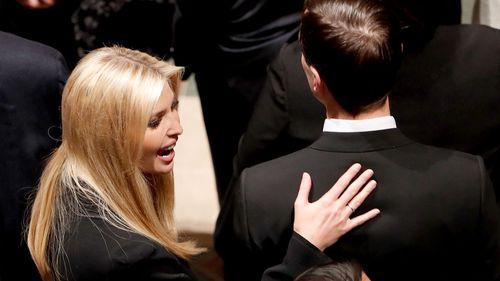Ivanka Trump and her husband Jared Kushner arrive for the funeral services for former United States President George H. W. Bush.