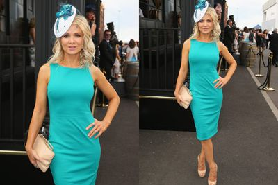 Russell Crowe's ex-wife, singer-actress Danielle Spencer, looked a treat in turquoise.<br/><br/>Image: AAP