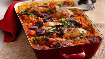 """Recipe:&nbsp;<a href=""""http://kitchen.nine.com.au/2016/05/13/13/23/baked-chicken-paella-for-10"""" target=""""_top"""">Baked chicken paella<br /> </a>"""