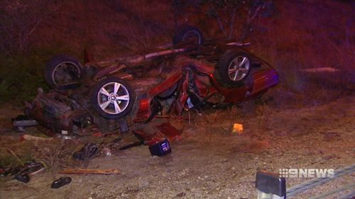 The car was seriously damaged in the crash. (9NEWS)
