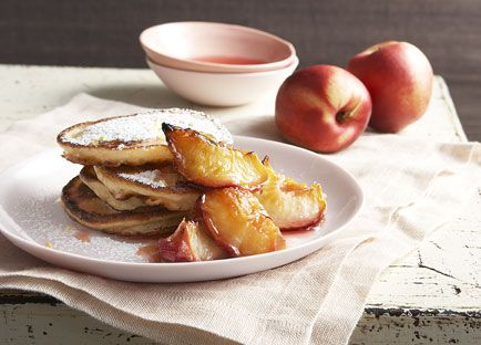 Buttermilk pancakes with glazed white nectarines