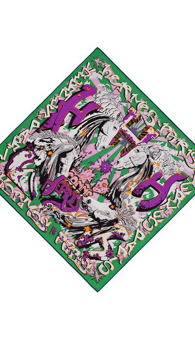 "<p><a href=""http://australia.hermes.com/la-maison-des-carres/car-vin-h-comme-hermes-vert-violet-gris-71270.html"" target=""_blank"">Printed Vintage 100% Silk Twill Scarf, $490,Hermès</a><br></p>"