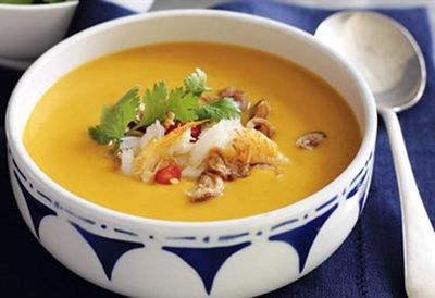 Thai pumpkin soup with spanner crab