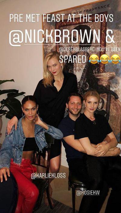 Supermodels Joan Smalls, Karlie Kloss and Rosie Huntington-Whiteley enjoyed a pre Met dinner with fashion writer Derek Blasberg