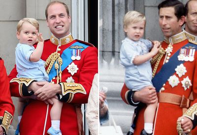 Prince George at Trooping the Colour, 2015; Prince William at Trooping the Colour, 1984