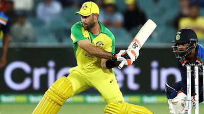 Glenn Maxwell of Australia bats during game three of the One Day International series between Australia and India