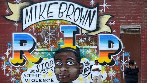 A memorial to St Louis's Mike Brown, who was shot by police in 2014. (AAP)