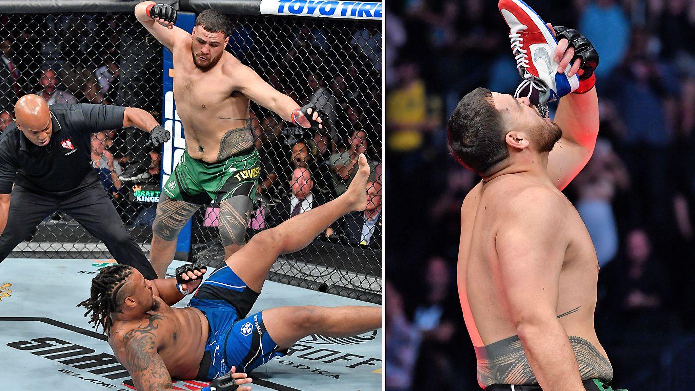 Tai Tuivasa knocks out Greg Hardy and does a celebratory shoey