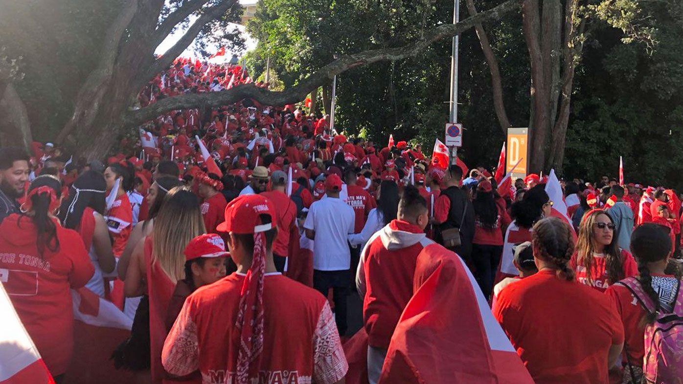 Extraordinary scenes as Tongan fans descend on Mt Smart Stadium ahead of Test against Kangaroos