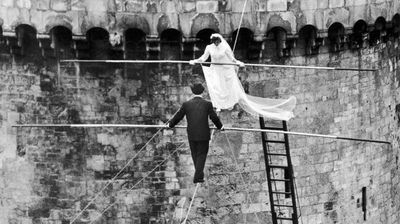 <p>But novelty weddings are nothing new. In 1959, talented aerial artists Roland Schmidt And Francine Pary married one another on the middle of a tightrope in La Rochelle, France. </p><p>It's one wedding that would have tested the nerves even more than most.</p>