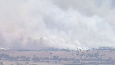Smoke covers the Grampians town of Moyston as a bushfire threatens residents. (9NEWS)