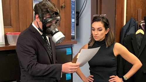 Matt Gaetz wearing a gas mask on the House floor during last week's coronavirus response package vote