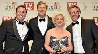 The cast of The Living Room with their Silver Logie for Most Popular Lifestyle Program. (AAP)