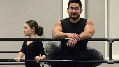 This dad frocked up for his daughter's ballet class