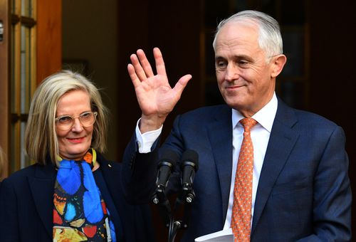 Saying goodbye to politics: Malcolm Turnbull gives a farewell speech in Canberra with wife Lucy by his side.
