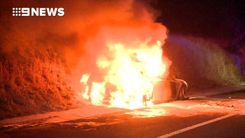 The blaze erupted just before 7.30pm. (9NEWS)
