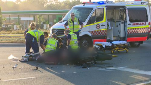 The motorcyclist died at the scene. (9NEWS)