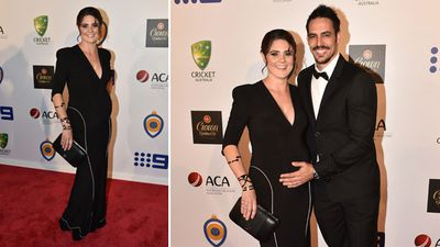 Retired fast bowler Mitchell Johnson and wife Jessica. (AAP)