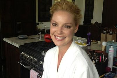 @katherineheigl: Getting ready earlier! We picked a glamorous location ;) #Emmys