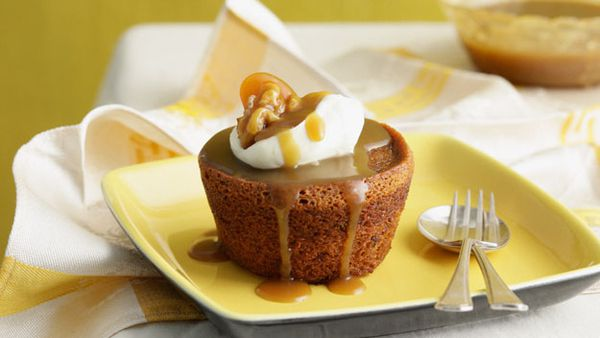 Sticky date puddings with buttered walnuts