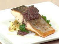 Pan-fried kingfish with crushed potatoes and black olive tapenade