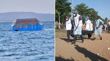 Hundreds of solemn people watched as body after body was pulled from a capsized ferry that Tanzanian authorities said was badly overcrowded and upended in the final stretch before reaching shore.
