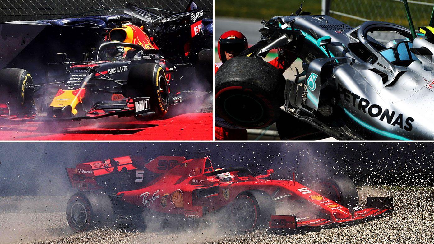 Verstappen, Vettel and Bottas crash in Austrua