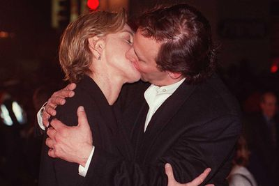 This doesn't look right! Ellen snogs her co-star Arye Gross at the <i>Interview With A Vampire</i> premiere in 1994.