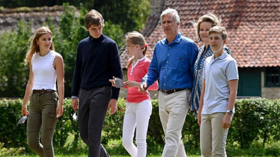 Belgian royal family leaving their home for bike ride