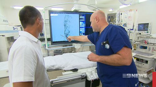 Jason Thomsen (left) is one of an increasing number of stroke victims saved by the use of stents. (9NEWS)