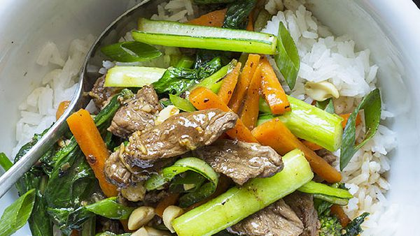 Sweet soy beef stir-fry with gai lan and rice