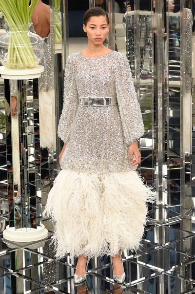 Lineisy Montero for Chanel Haute Couture Spring 2017. Feathers, sequins and flapper fun.