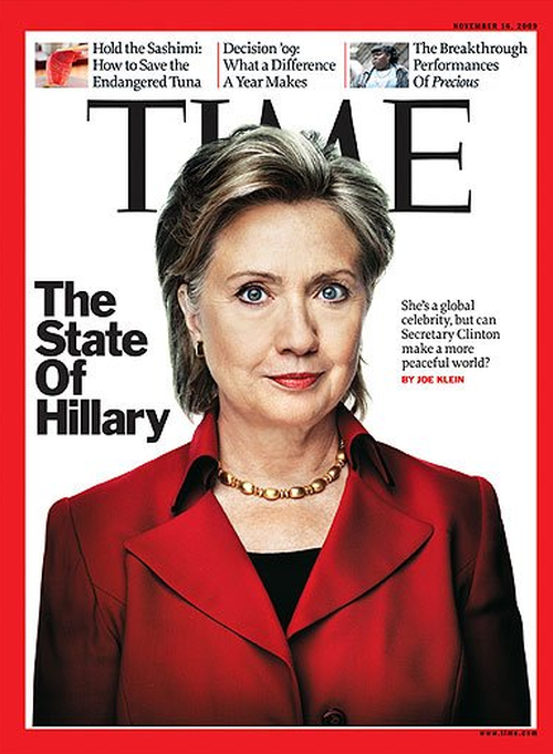 "Hillary Clinton received ""horns"" on her 2009 cover. (TIME Magazine)"