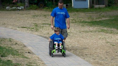 Paralysed boy granted simple wish of a new backyard path
