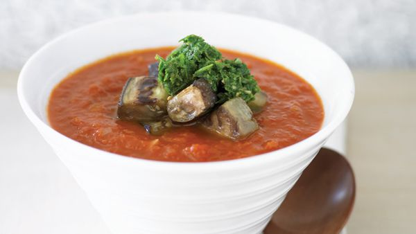 Tomato soup with eggplant and parsley pistou